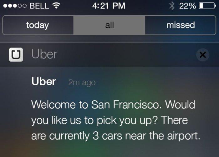 Geofencing Marketing - uber push notification